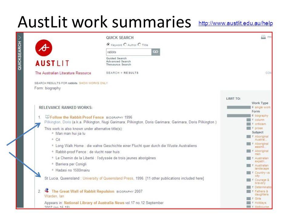 AustLit work summaries http://www.austlit.edu.au/help