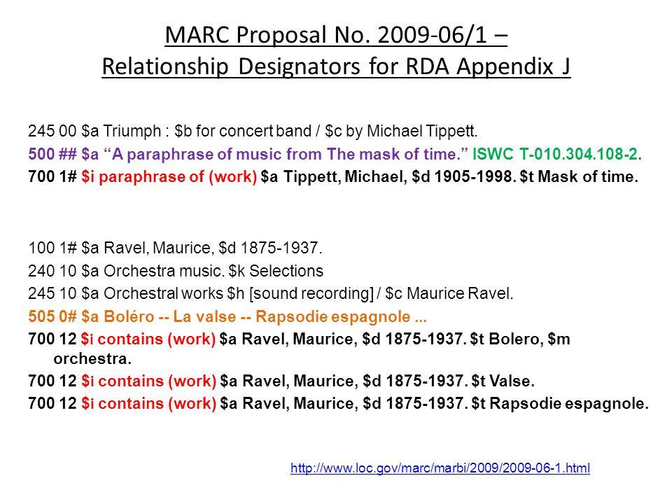 """MARC Proposal No. 2009-06/1 – Relationship Designators for RDA Appendix J 245 00 $a Triumph : $b for concert band / $c by Michael Tippett. 500 ## $a """""""