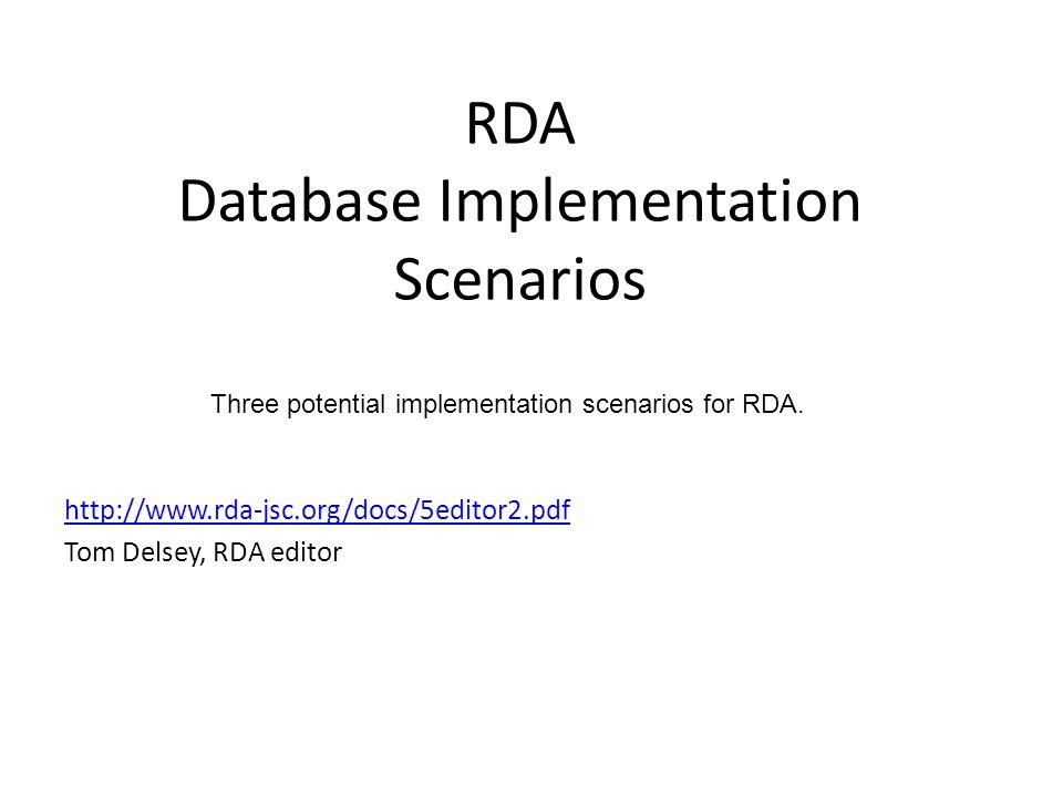RDA Database Implementation Scenarios http://www.rda-jsc.org/docs/5editor2.pdf Tom Delsey, RDA editor Three potential implementation scenarios for RDA