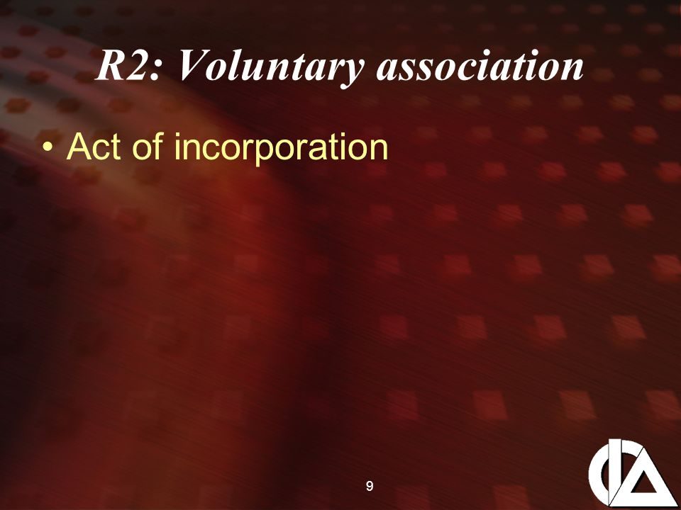 20 Act of Incorporation Federal act - 1965