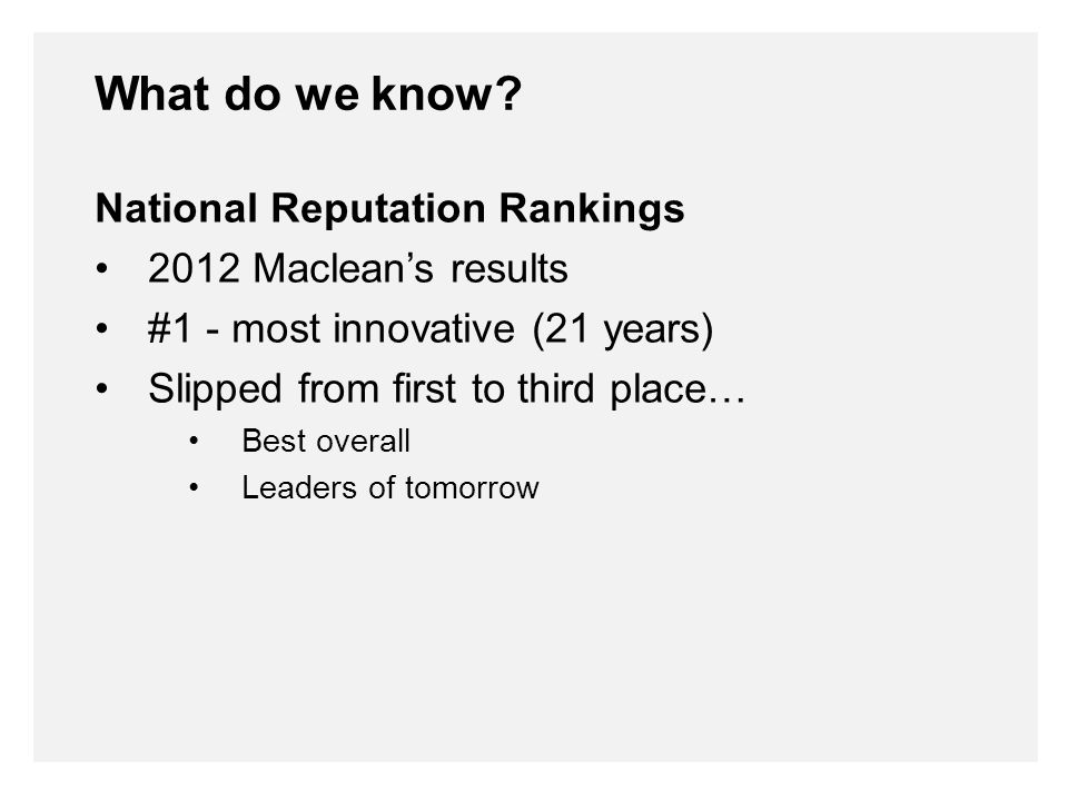 National Reputation Rankings 2012 Maclean's results #1 - most innovative (21 years) Slipped from first to third place… Best overall Leaders of tomorrow What do we know