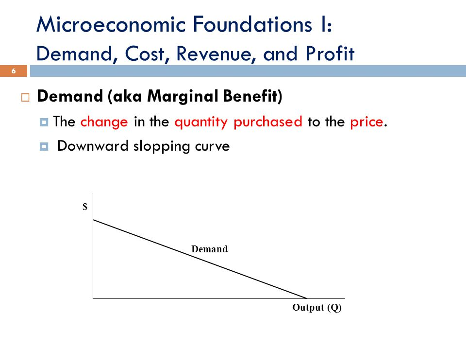 Microeconomic Foundations I: Demand, Cost, Revenue, and Profit 6  Demand (aka Marginal Benefit)  The change in the quantity purchased to the price.