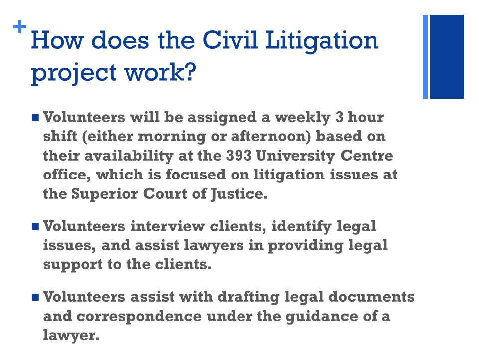+ How does the Civil Litigation project work.