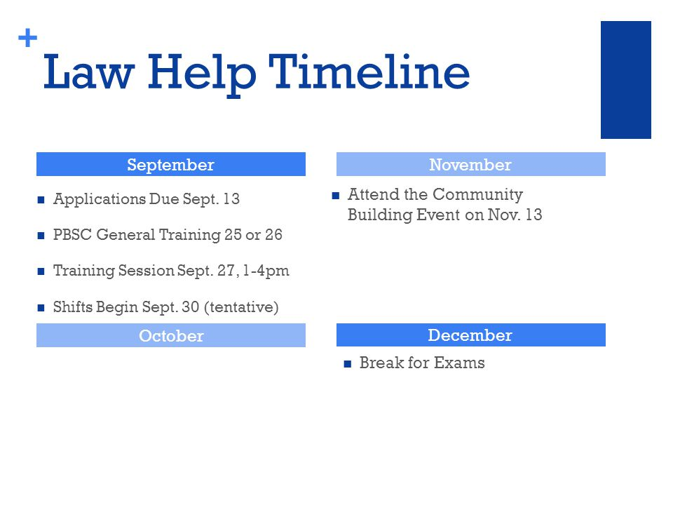 + Law Help Timeline Attend the Community Building Event on Nov.