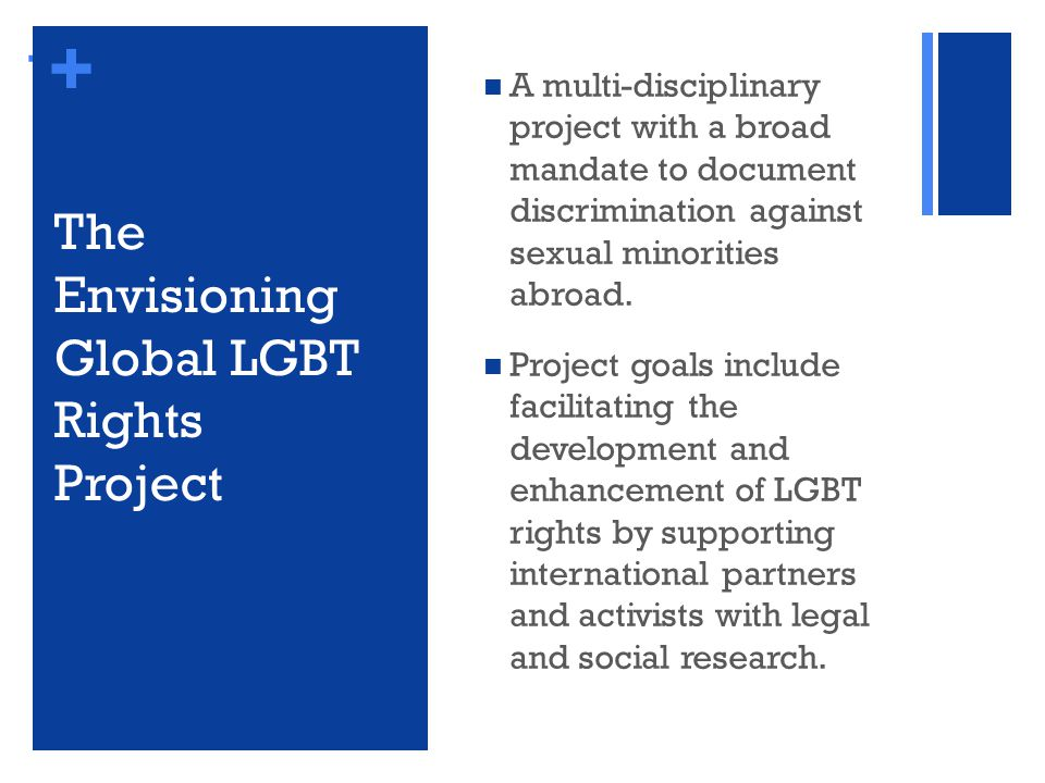 + + A multi-disciplinary project with a broad mandate to document discrimination against sexual minorities abroad.