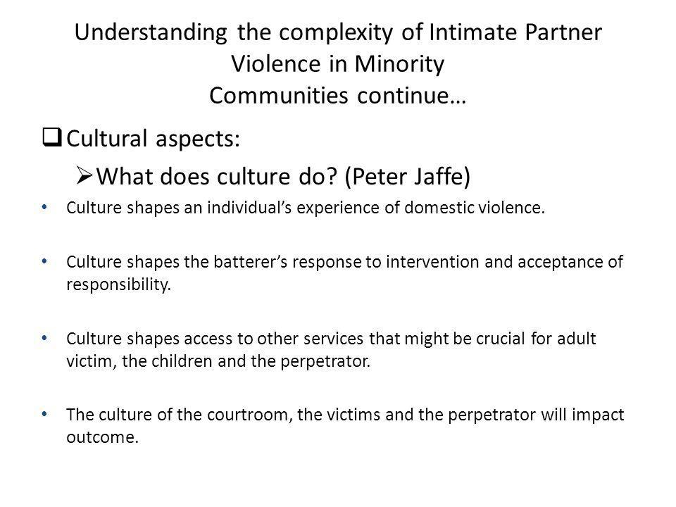 Understanding the complexity of Intimate Partner Violence in Minority Communities continue…  Cultural aspects:  What does culture do.
