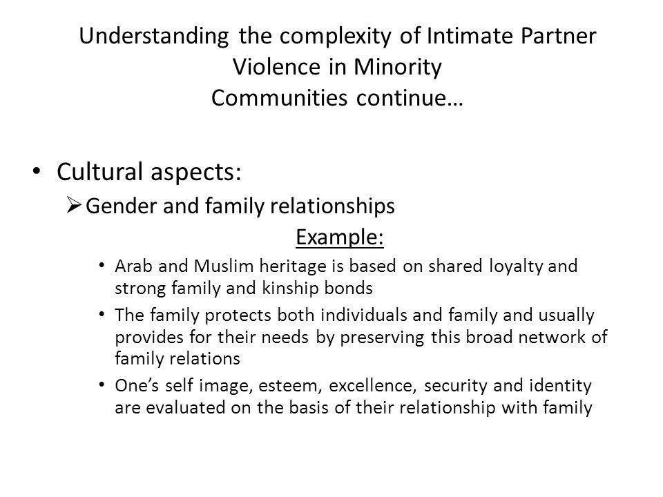 Understanding the complexity of Intimate Partner Violence in Minority Communities continue… Cultural aspects:  Gender and family relationships Example: Arab and Muslim heritage is based on shared loyalty and strong family and kinship bonds The family protects both individuals and family and usually provides for their needs by preserving this broad network of family relations One's self image, esteem, excellence, security and identity are evaluated on the basis of their relationship with family