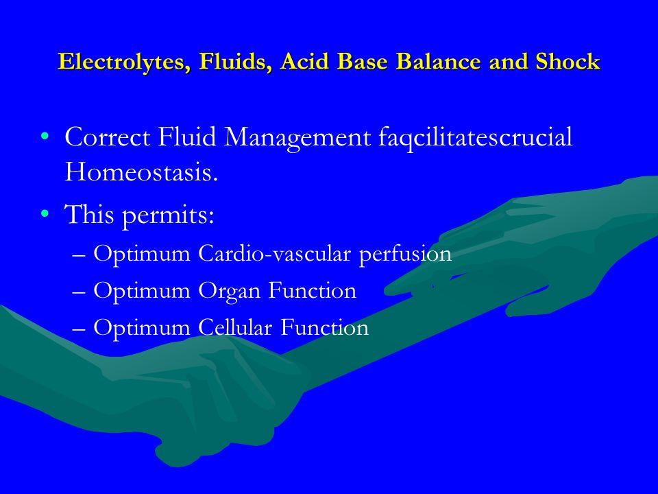 Electrolytes, Fluids, Acid Base Balance and Shock Correct Fluid Management faqcilitatescrucial Homeostasis. This permits: – –Optimum Cardio-vascular p
