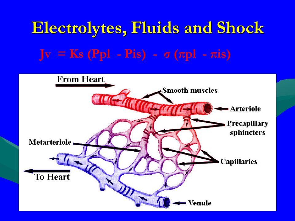 Electrolytes, Fluids and Shock Jv = Ks (Ppl - Pis) - σ (πpl - πis)
