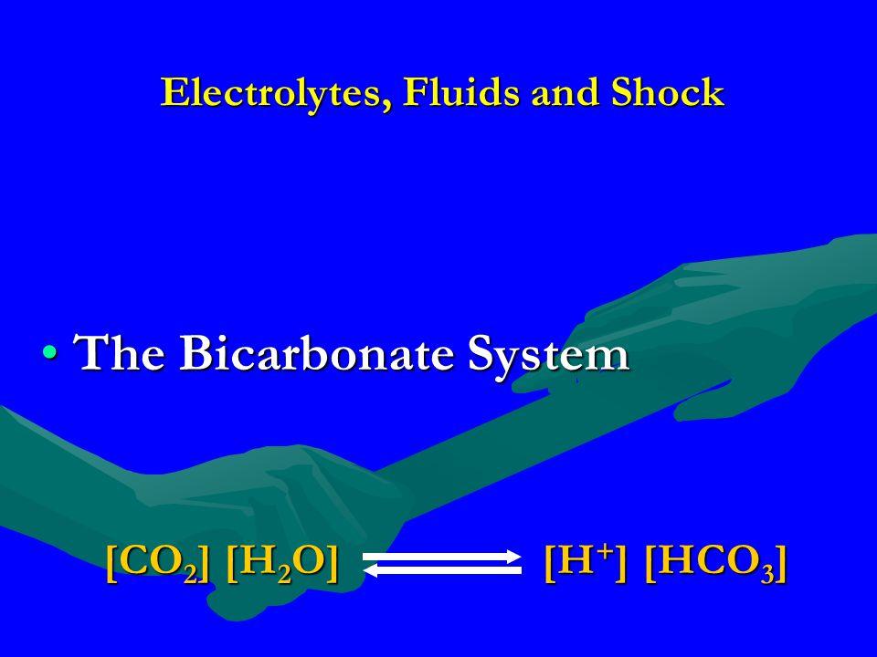 Electrolytes, Fluids and Shock The Bicarbonate SystemThe Bicarbonate System [CO 2 ] [H 2 O][H + ] [HCO 3 ]