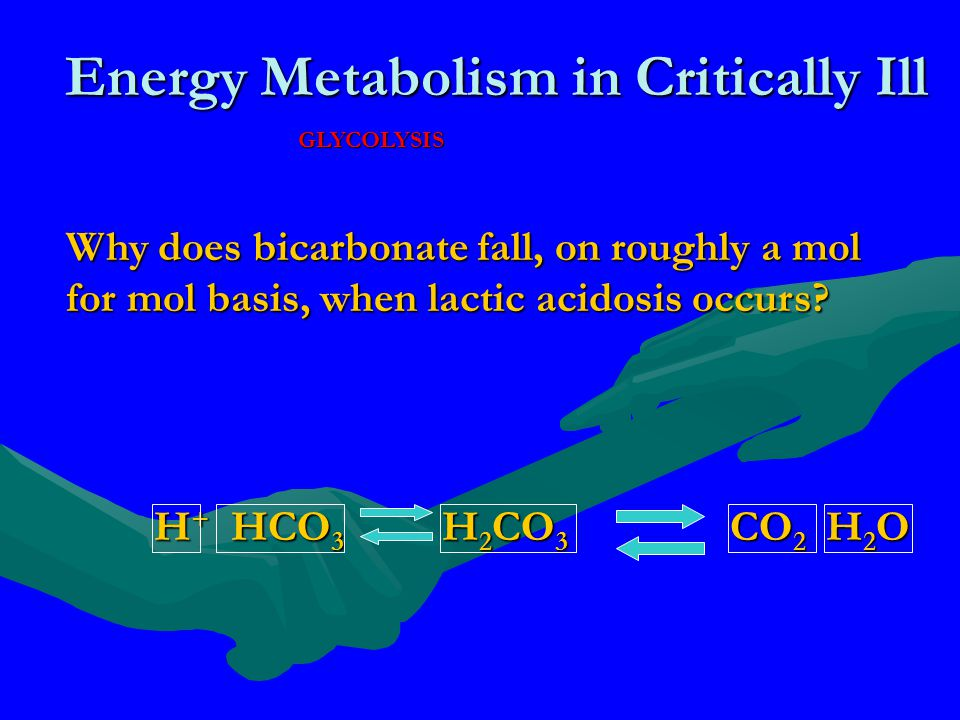 Energy Metabolism in Critically Ill GLYCOLYSIS Why does bicarbonate fall, on roughly a mol for mol basis, when lactic acidosis occurs? H + HCO 3 H 2 C