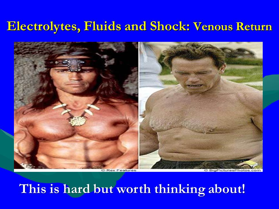 Electrolytes, Fluids and Shock: Venous Return This is hard but worth thinking about!