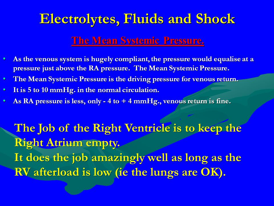 Electrolytes, Fluids and Shock As the venous system is hugely compliant, the pressure would equalise at a pressure just above the RA pressure. The Mea