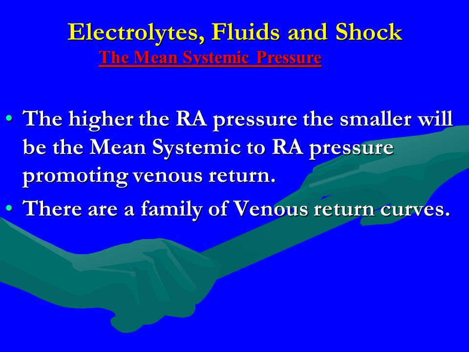Electrolytes, Fluids and Shock The higher the RA pressure the smaller will be the Mean Systemic to RA pressure promoting venous return.The higher the