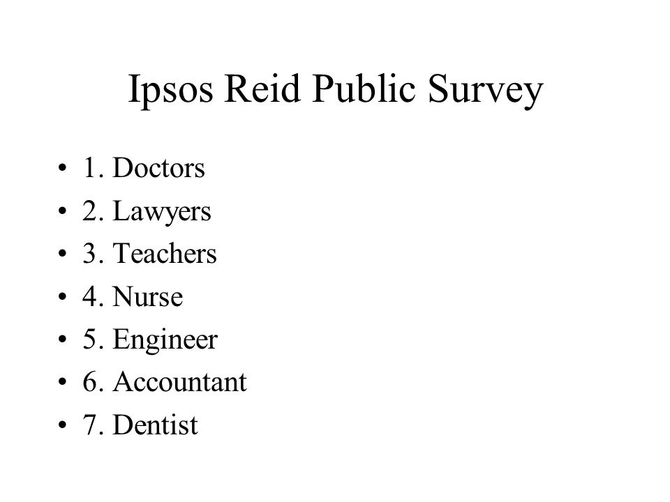 Ipsos Reid Public Survey 1.Doctors 2. Lawyers 3. Teachers 4.