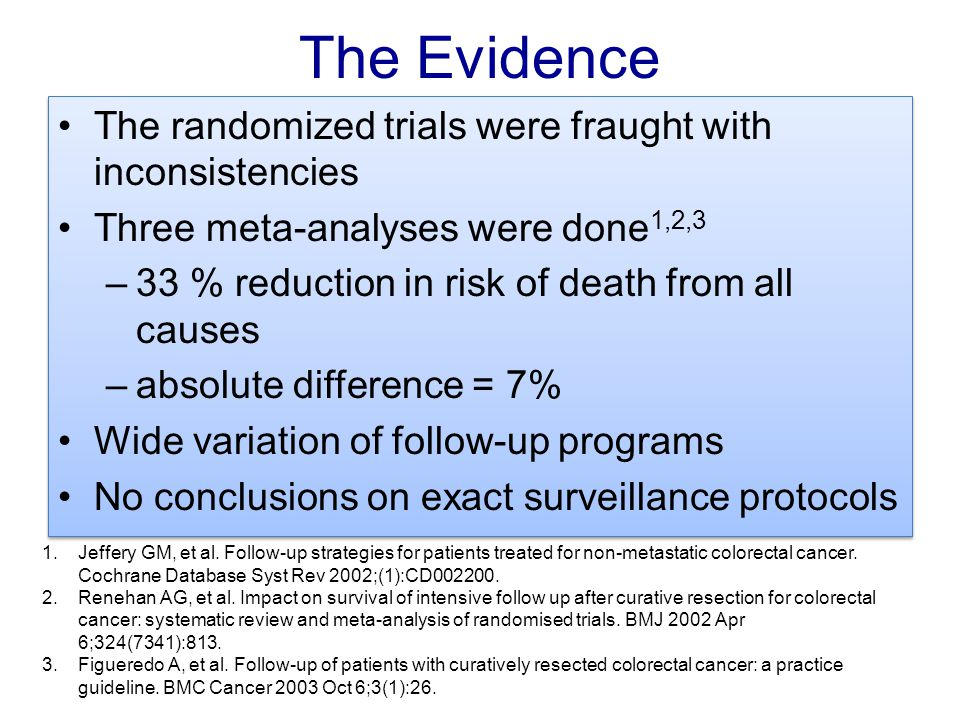 The Evidence The randomized trials were fraught with inconsistencies Three meta-analyses were done 1,2,3 –33 % reduction in risk of death from all cau