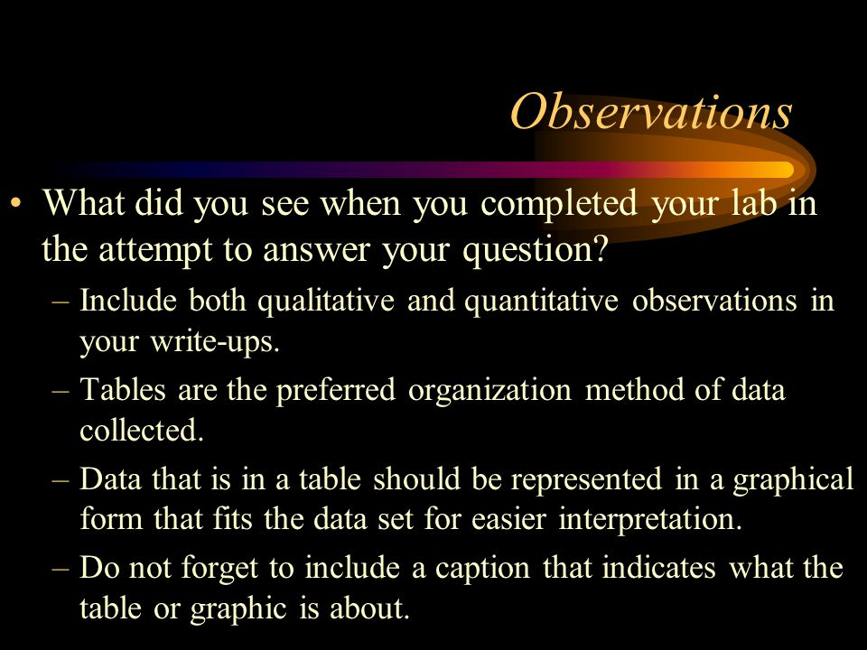 Observations What did you see when you completed your lab in the attempt to answer your question.