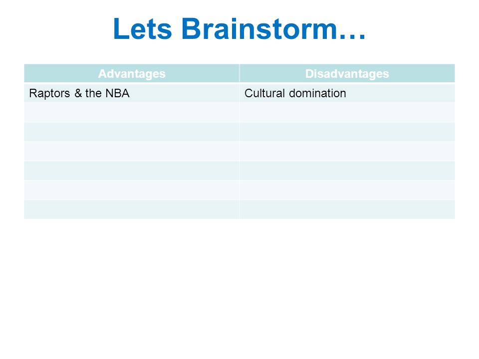 Lets Brainstorm… AdvantagesDisadvantages Raptors & the NBACultural domination