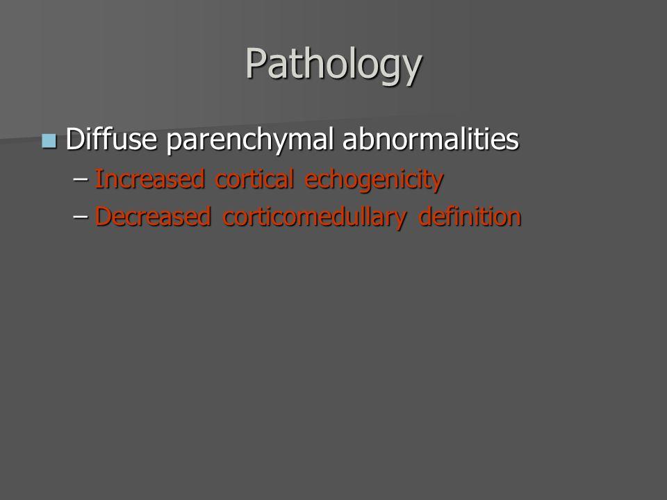 Pathology Increased cortical echogenicity Increased cortical echogenicity –Normal cats –Inflammatory disease  Glomerulonephritis  Interstitial nephritis  FIP –Acute tubular necrosis/nephrosis (toxins) –Renal dysplasia –Nephrocalcinosis –Neoplasia  Diffuse lymphosarcoma