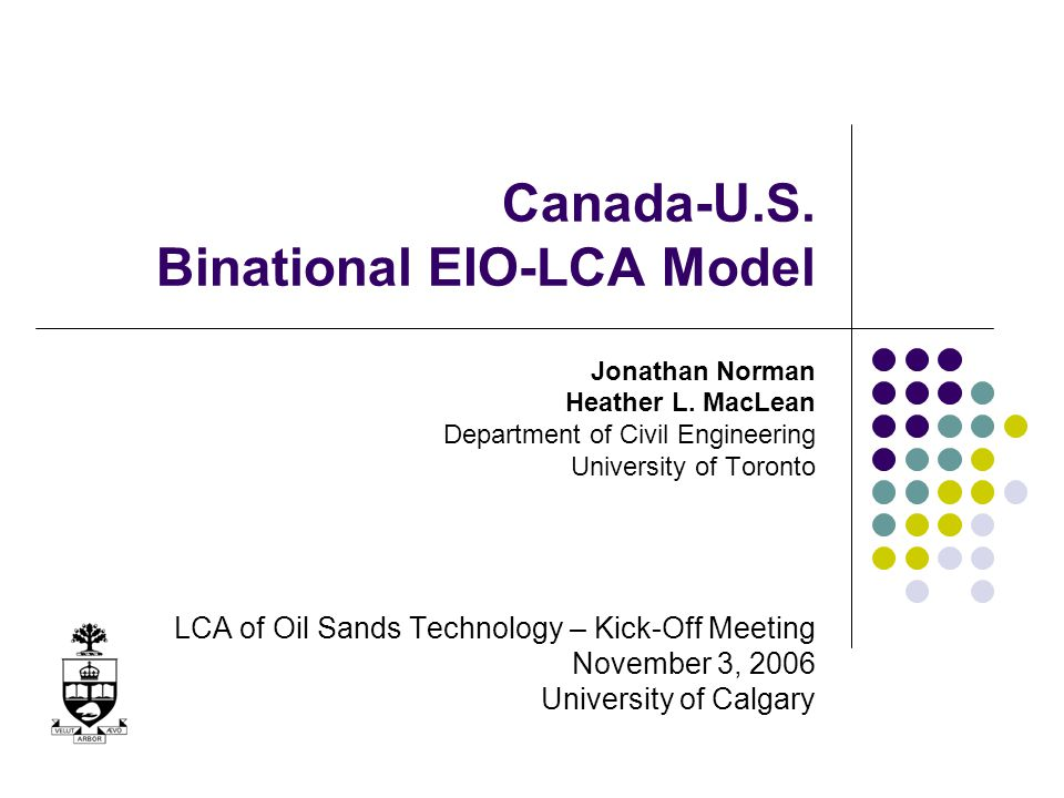 Outline Environmental Input-Output Analysis Overview, limitations, applications Canadian and U.S.