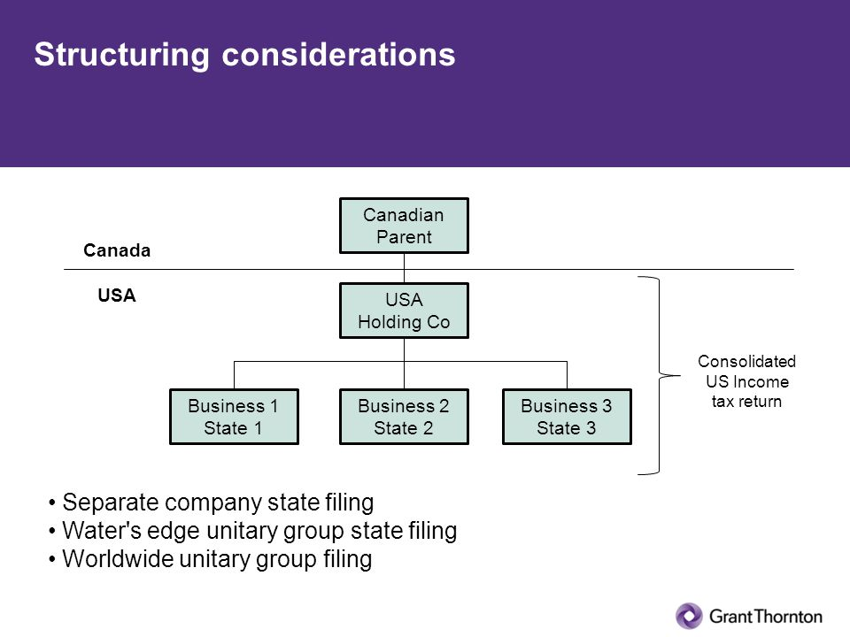 Structuring considerations Canadian Parent Business 1 State 1 Business 2 State 2 Business 3 State 3 Canada USA Consolidated US Income tax return Separate company state filing Water s edge unitary group state filing Worldwide unitary group filing USA Holding Co