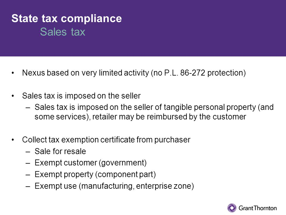 State tax compliance Sales tax Nexus based on very limited activity (no P.L.