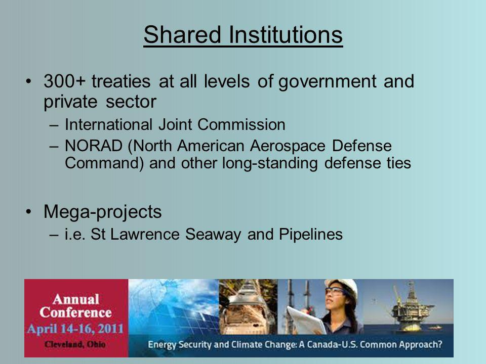Shared Institutions 300+ treaties at all levels of government and private sector –International Joint Commission –NORAD (North American Aerospace Defense Command) and other long-standing defense ties Mega-projects –i.e.