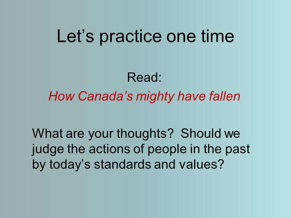 Let's practice one time Read: How Canada's mighty have fallen What are your thoughts.