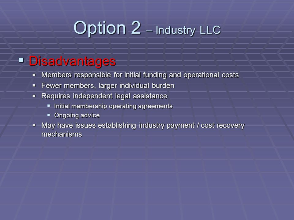Option 2 – Industry LLC  Disadvantages  Members responsible for initial funding and operational costs  Fewer members, larger individual burden  Requires independent legal assistance  Initial membership operating agreements  Ongoing advice  May have issues establishing industry payment / cost recovery mechanisms