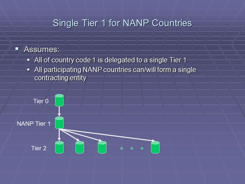 Single Tier 1 for NANP Countries  Assumes:  All of country code 1 is delegated to a single Tier 1  All participating NANP countries can/will form a single contracting entity Tier 0 NANP Tier 1 Tier 2