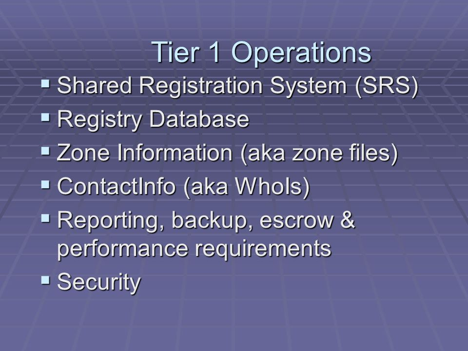 Tier 1 Security  DNS  TSIG, DNSSec  Protocol  Physical  Network  Backup  Auditing and Reporting