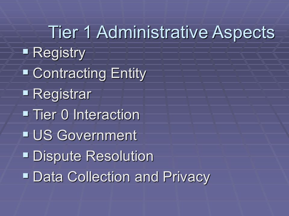 Multiple Tier-1 Operators in the US Direct delegation from skinny Tier 1  Advantages  Only Country code 1 must be loaded into Tier 0  Only one representative from NANP countries needs to deal with Tier 0  Individual NANP countries deal with a single skinny Tier 1 provider  MAY simplify inclusion of non geographic numbers by placing them directly in skinny tier 1  Promotes multiple business opportunities in Tier 1 Registry  Disadvantages  NPAs need to be distributed among Tier 1 providers  Restricts business opportunity to single entity at skinny tier 1 level  Creates risk of relying on single business entity at skinny tier 1  Does not resolve issues regarding non geographic number inclusion in ENUM  All NANP countries must agree/acquiesce on using a skinny tier 1 operator  All NANP countries must agree/acquiesce on selection of skinny tier1 entity  Introduces additional operational and administrative interfaces for Registrars and Tier 2 operators