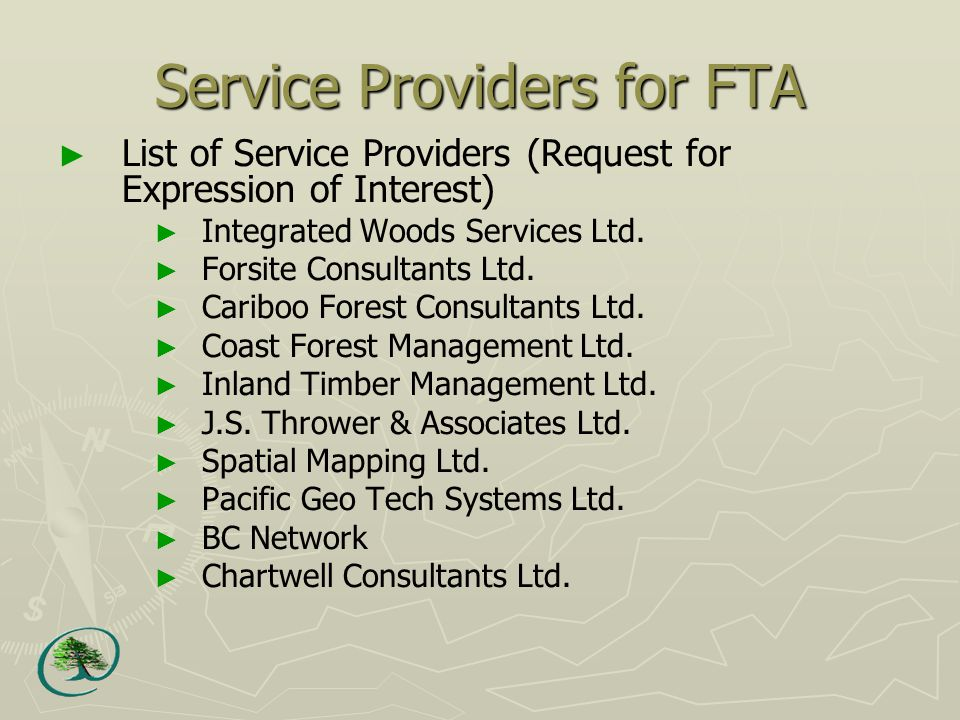 Service Providers for FTA ► List of Service Providers (Request for Expression of Interest) ► Integrated Woods Services Ltd.