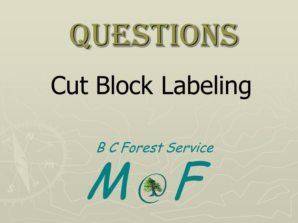Questions Cut Block Labeling B C Forest Service M F