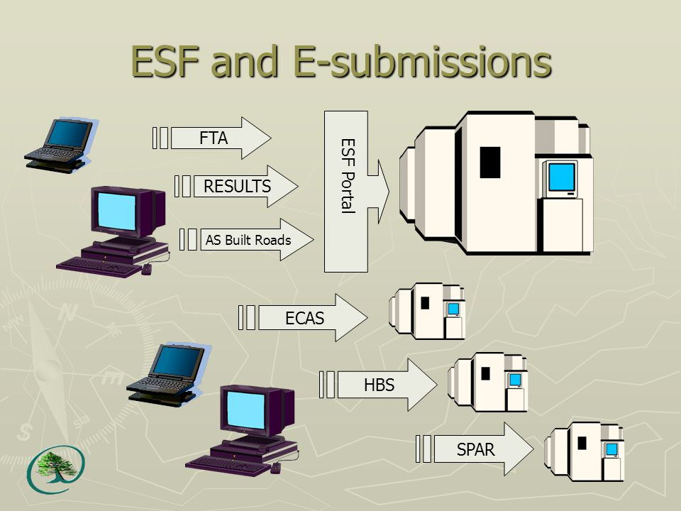 ESF and E-submissions ECAS HBS SPAR FTA RESULTS AS Built Roads ESF Portal