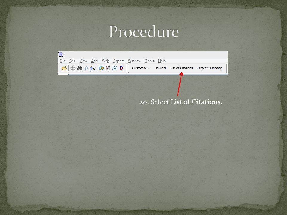 20. Select List of Citations.