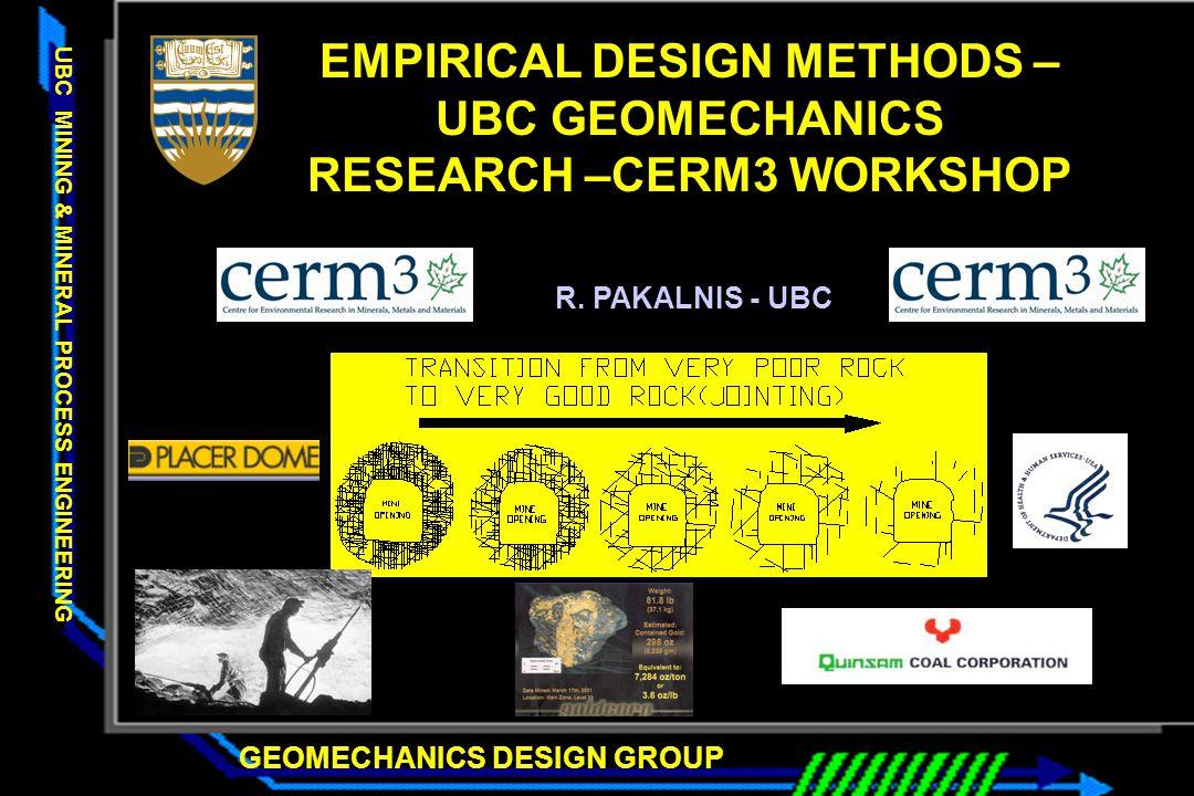 GEOMECHANICS DESIGN GROUP UBC MINING & MINERAL PROCESS ENGINEERING EMPIRICAL DESIGN METHODS – UBC GEOMECHANICS RESEARCH –CERM3 WORKSHOP R. PAKALNIS -
