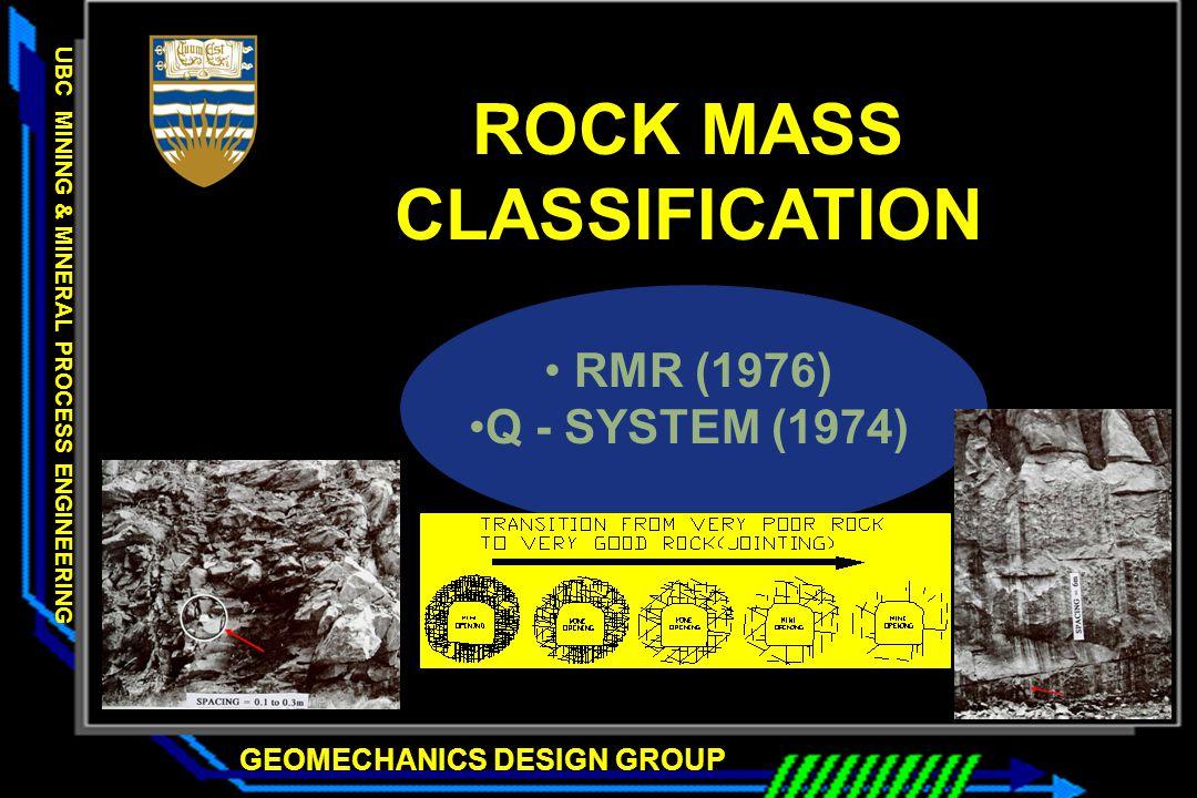 GEOMECHANICS DESIGN GROUP UBC MINING & MINERAL PROCESS ENGINEERING GEOMECHANICS DESIGN GROUP UBC MINING & MINERAL PROCESS ENGINEERING ROCK MASS CLASSI