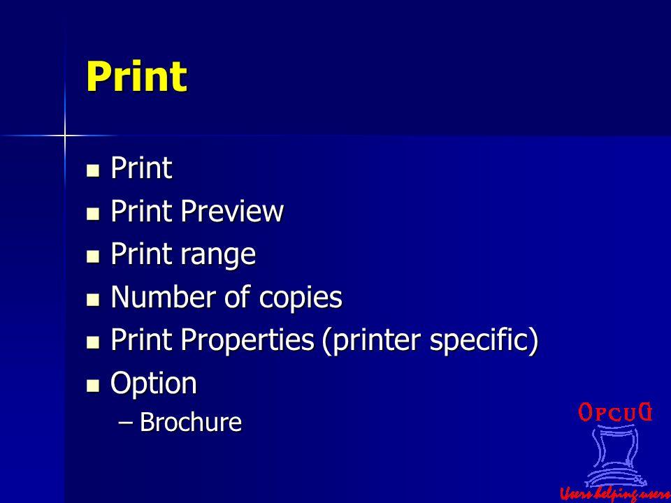 Print Print Print Print Preview Print Preview Print range Print range Number of copies Number of copies Print Properties (printer specific) Print Prop