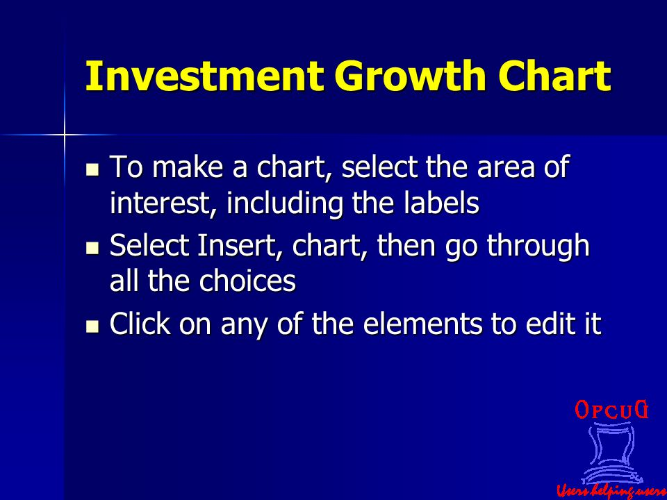 Investment Growth Chart To make a chart, select the area of interest, including the labels To make a chart, select the area of interest, including the labels Select Insert, chart, then go through all the choices Select Insert, chart, then go through all the choices Click on any of the elements to edit it Click on any of the elements to edit it