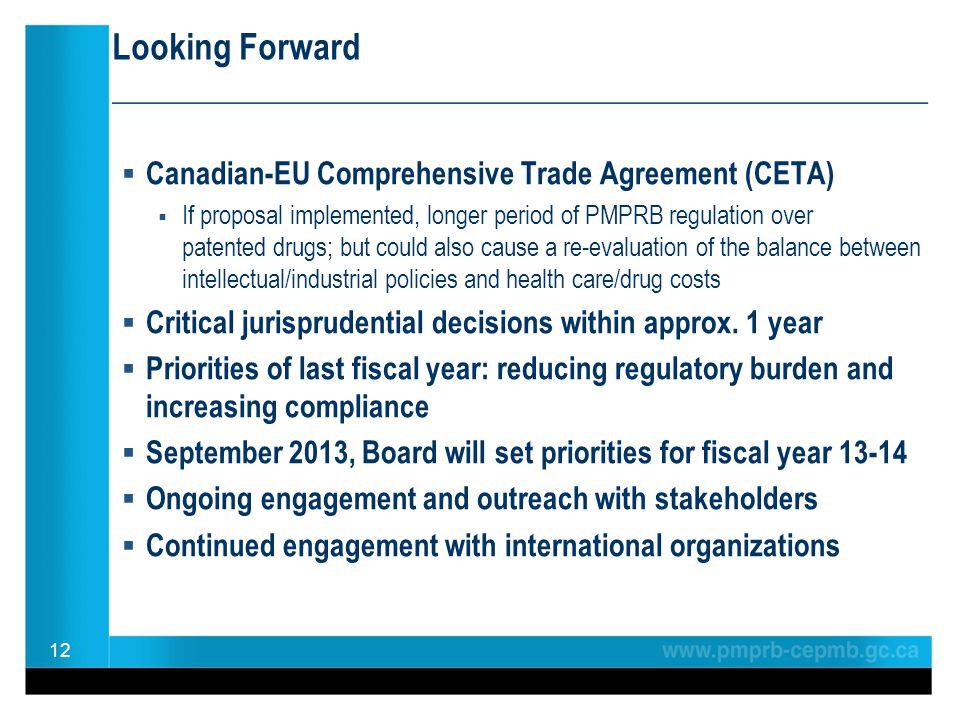 Looking Forward ________________________________________________  Canadian-EU Comprehensive Trade Agreement (CETA)  If proposal implemented, longer