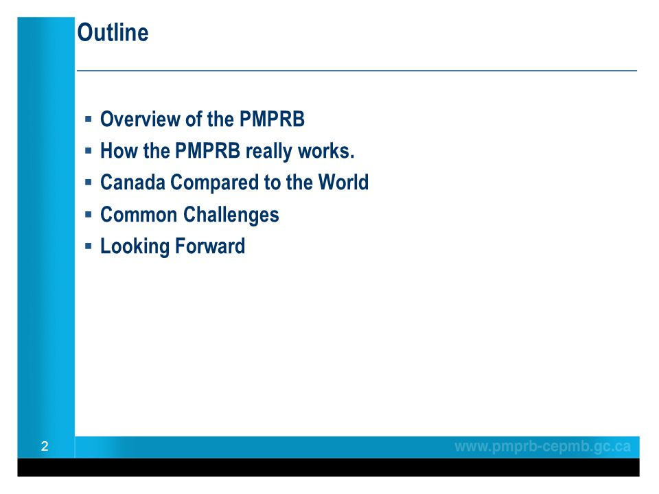 Outline ________________________________________________  Overview of the PMPRB  How the PMPRB really works.  Canada Compared to the World  Common