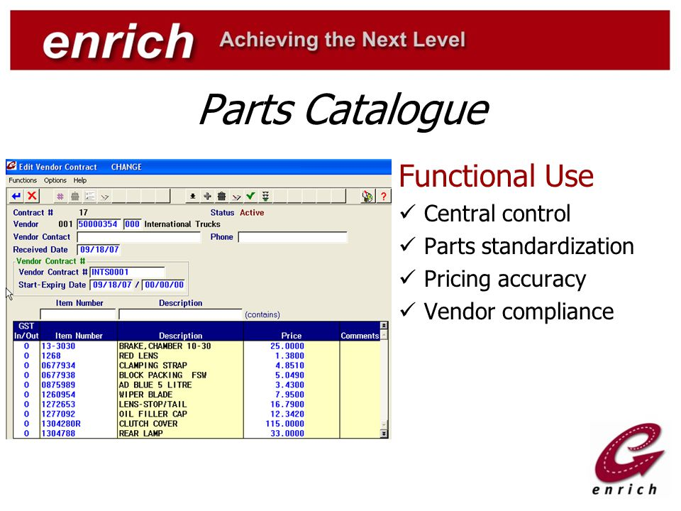 Parts Catalogue Functional Use Central control Parts standardization Pricing accuracy Vendor compliance