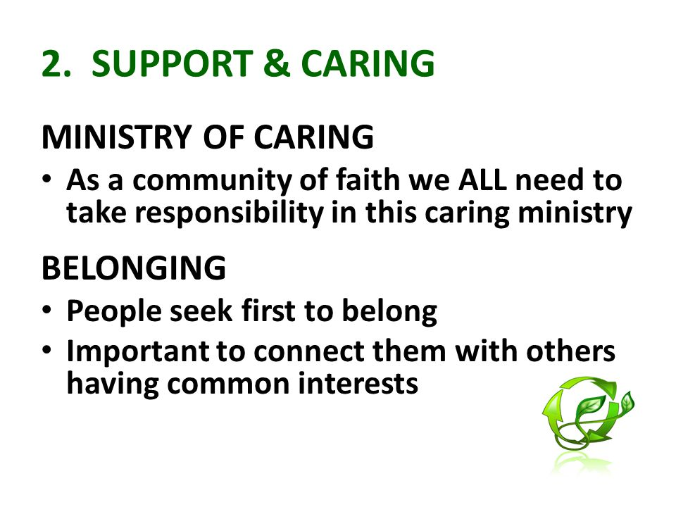 2. SUPPORT & CARING MINISTRY OF CARING As a community of faith we ALL need to take responsibility in this caring ministry BELONGING People seek first