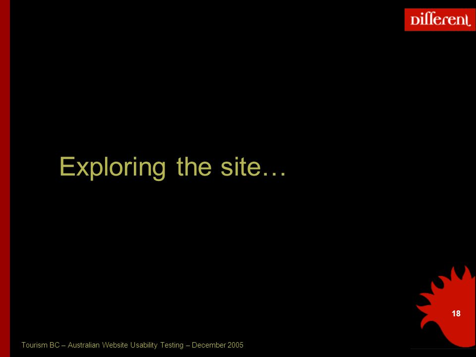 Tourism BC – Australian Website Usability Testing – December 2005 18 Exploring the site…