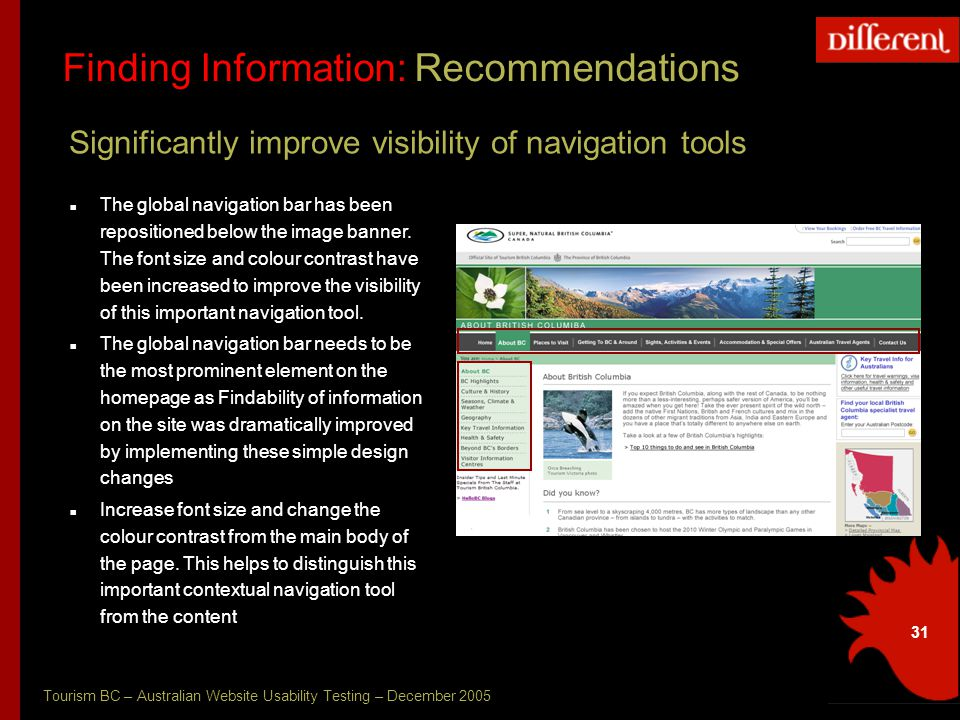 Tourism BC – Australian Website Usability Testing – December 2005 31 Finding Information: Recommendations Significantly improve visibility of navigation tools The global navigation bar has been repositioned below the image banner.