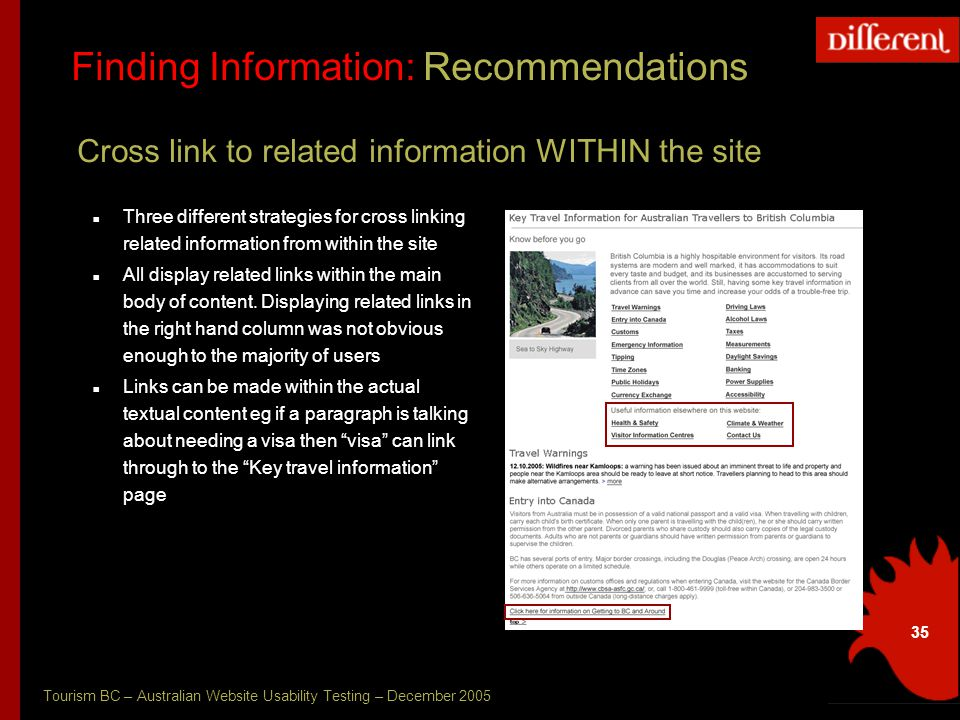 Tourism BC – Australian Website Usability Testing – December 2005 35 Finding Information: Recommendations Cross link to related information WITHIN the site Three different strategies for cross linking related information from within the site All display related links within the main body of content.