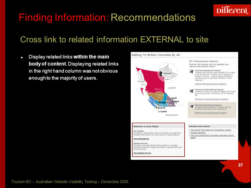 Tourism BC – Australian Website Usability Testing – December 2005 37 Finding Information: Recommendations Cross link to related information EXTERNAL to site Display related links within the main body of content.