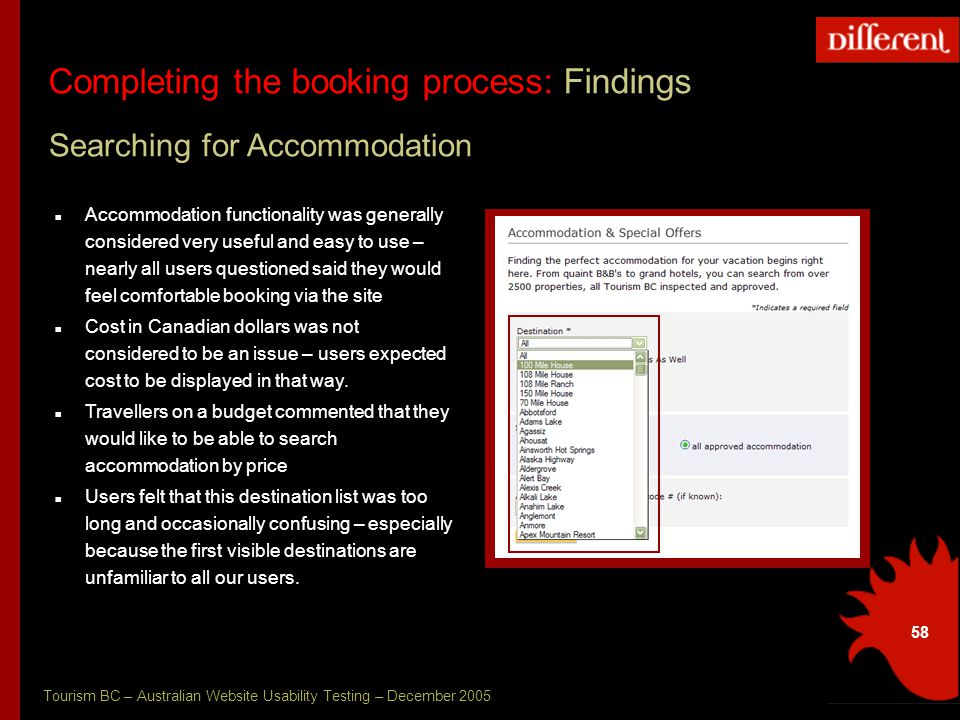 Tourism BC – Australian Website Usability Testing – December 2005 58 Completing the booking process: Recommendations Completing the booking process: Findings Searching for Accommodation Accommodation functionality was generally considered very useful and easy to use – nearly all users questioned said they would feel comfortable booking via the site Cost in Canadian dollars was not considered to be an issue – users expected cost to be displayed in that way.
