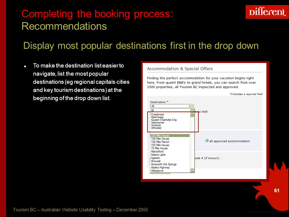 Tourism BC – Australian Website Usability Testing – December 2005 61 Completing the booking process: Recommendations Display most popular destinations first in the drop down To make the destination list easier to navigate, list the most popular destinations (eg regional capitals cities and key tourism destinations) at the beginning of the drop down list.
